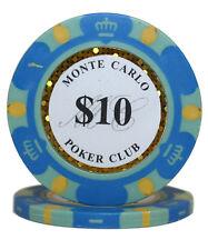 100pcs 14g Monte Carlo Poker Club Casino Poker Chips $10