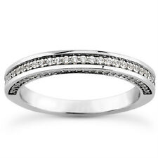 0.65 ct Ladies Round Cut Diamond Wedding Band Diamonds on The Side In Platinum