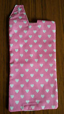 Catheter leg bag cover . Pink with hearts.100% cotton.