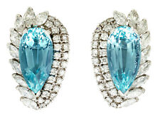 Vintage 21.12Ct Aquamarine & 5.86Ct Diamond, 18k White Gold Clip on Earrings
