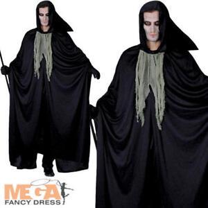 Dark Grim Reaper Mens Fancy Dress Halloween Horror Creepy Adults Costume Outfit
