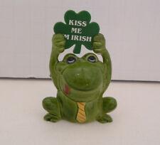 vintage 1980 enesco kiss me I'm Irish shamrock small green frog toad figurine
