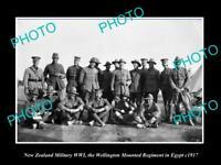 POSTCARD SIZE PHOTO NEW ZEALAND MILITARY WWI WELLINGTON REGIMENT IN EGYPT 1917