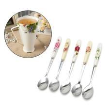 1x Ceramic Handle Spoon Stainless Steel Dessert Coffee Spoons Ice Cream Teaspoon