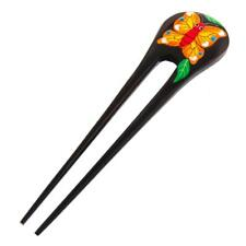 "6"" HANDPAINTED YELLOW BUTTERFLY NATURAL WOOD HAIRSTICK HAIRFORK HAIR hairpin"