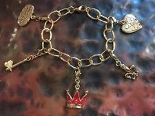 Disney Couture GoldTone Alice in Wonderland Enamel Charm Bracelet  w/ 5 charms