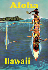 Art Ad HAWAII Aloha Canoe surfing Travel Deco   Poster Print