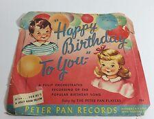 Happy Birthday to You 45 Children's Record Orange Vinyl Vintage with Pic Sleeve