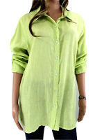 J Jill 100% Linen Button Down Shirt mint green long sleeve size L Large