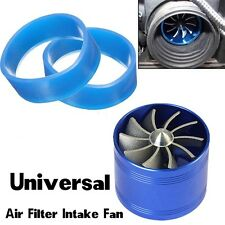 SUV Single Supercharger Turbo Charger Air Filter Intake Fan Fuel Gas Saver -Blue