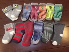 TODDLER BOY SOCKS 12-36 Months Lot 6 Pairs Red Blue Striped Cotton 2T 3T