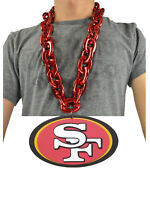 New NFL San Francisco 49ers RED Burgundy Fan Chain Necklace Foam Magnet - 2 in 1