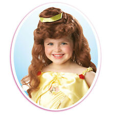 Childs Disney Principessa Belle Bellezza Parrucca Ragazze Bambini Costume 9909