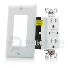 Switches GFCI White 2-Gang Paladin Unbreakable Screwless Child Safe Decorator Wall Plate Cover for Outlets 1 Piece