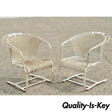 Pair of Vintage Woodard Daisy Bouquet Barrel Back Bouncer Lounge Arm Chairs (B)