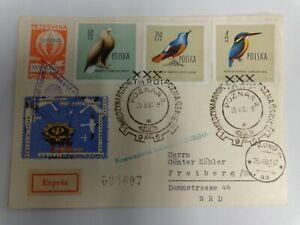 Vögel -Polen Ballonpost Vögel mit Storchenvignette 1961 nach Freiberg/Sachsen