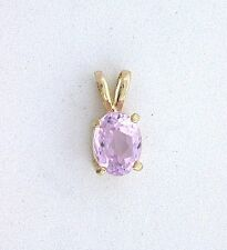 14Kt Yellow Gold 8x6 8mm x 6mm Oval Kunzite Gemstone Gem Stone Pendant ES199EP20