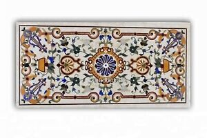 24 x 48 Inches Marble Coffee Table Top Hand Made Dining Table with Marquetry Art