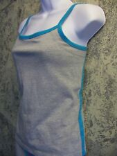 FORENZA warm up running sweat pants M athletic tank L gray aqua cotton spandex