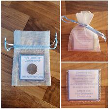 Personalised Lucky Sixpence Keepsake Wedding Bride Something Old Something Blue