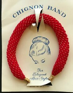 Vintage Hair - 1950's Red Sparkle Fabric Chignon Band - Made in England