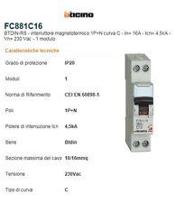 BTicino FC881C16 BTDIN45 interruttore magnetotermico  16A  1+N 4500K