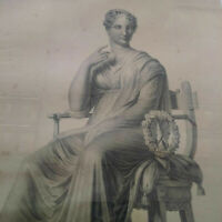 Rarissime grand format gravure à l'antique XIXème Polymnie muse femme antiquité