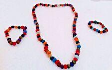 Handmade Multi-Colour  Silk Bead Necklace and Bracelet Set