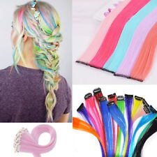 """22"""" Rainbow Colour / DIY Clip In Hair Extensions Real Long Curly Straight 10pcs"""