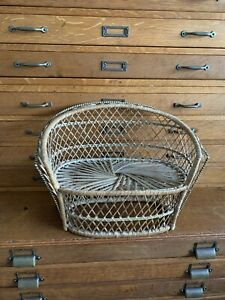 Vintage Wicker Peacock Fan Back Rattan Couch Doll Plant Stand Boho Decor