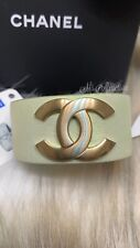 CHANEL $1,100 NWT CC Gold Iridescent Leather Wrap Bracelet Link Cuff RARE