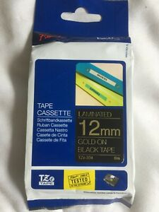 Brother TZe-334  P Touch Label Tape 12mm Gold on Black  Laminated Tape