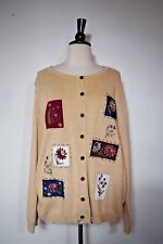 Ms Lee Cardigan Sweater Tan Patchwork Button Front Long Sleeve Women's Size  L