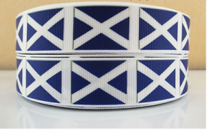"Grosgrain Scotland Scottish Flag Ribbon 7/8"" 22mm"