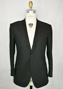 * Kiton * Dark Gray W/ Dark Green Chalk Striped Wool Flannel 3-Btn Suit 44 R US
