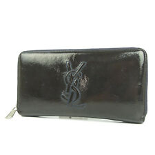 Auth YVES SAINT LAURENT rive gauche Leather Zip Around Long Wallet Purse 3534
