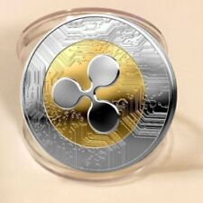 Gold &Silver Ripple coin Commemorative Round Collectors Coin XRP Coin w/Case