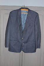 Ancienne veste de costume - Pure laine - Griffes Noire - Bleu chiné - France