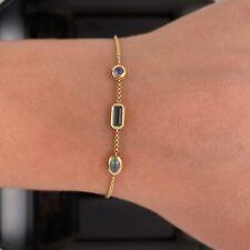 David Yurman 18k Gold Amethyst / Aquamarine / Blue Topaz Bracelet Ajustable