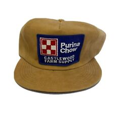 Purina Chow Hat Leather Vintage Trucker Cap K-Products Castlewood Farm Supply