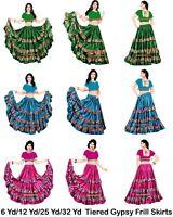 Satin Gypsy 6/12/25 Yard Skirts 4 Tier Printed Frill Belly Dance Flamenco Jupe