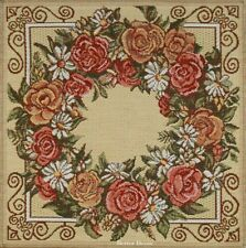 SET OF 4 DECORATIVE TAPESTRY TABLE NAPKINS Floral Wreath EURO PLACE MAT ACCENT