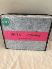 Betsey Johnson Queen Sheet Set 4Pc Poice Lace Light Blue & White Nwt