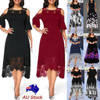 Plus Size Women Lace Floral Midi Dress Evening Party Cocktail Prom A-line Dress