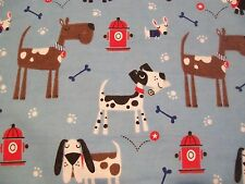 Dogs Bones & Fire Hydrant Snuggle Flannel Fabric - BTY
