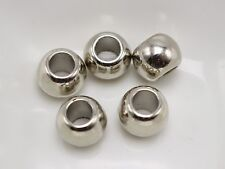 100 Silver Tone Metallic Acrylic Round Pony Beads 10X8mm Big Hole Spacer