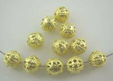 100 x Gold tone Ornate Filigree Spacer Beads size 6mm