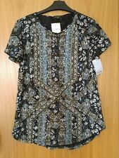 LUCKY BRAND RRP $60 dark blue Byzantine style blouse top shirt SIZE M NEW