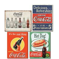 Vintage Coca Cola Tin Signs Retro Bundle - Coca Cola Bottle Evolution, Coke D...