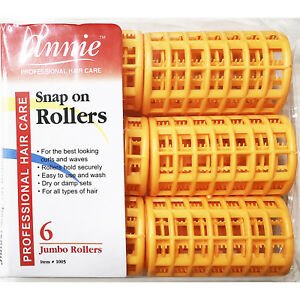 ANNIE SNAP ON ROLLERS #1005, 6 COUNT ORANGE JUMBO 1-1/2""